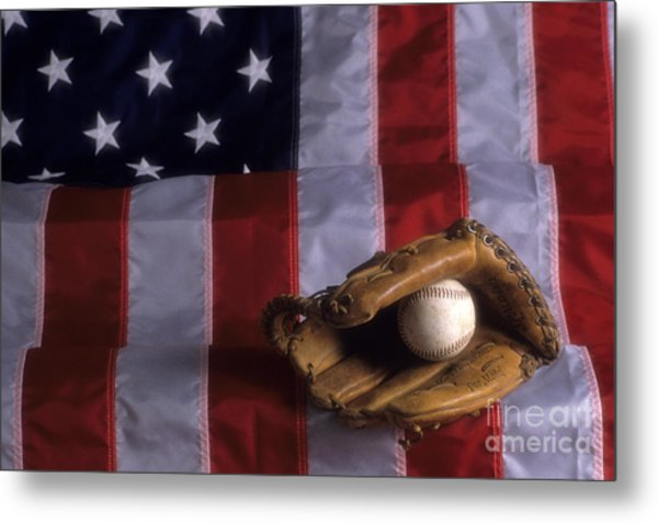 Baseball And American Flag Metal Print