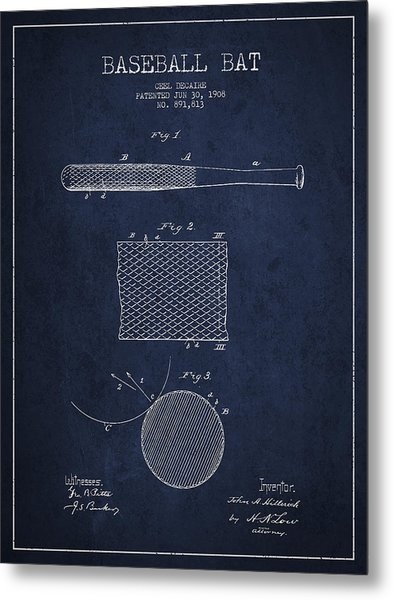 Baseball Bat Patent Drawing From 1904 Metal Print