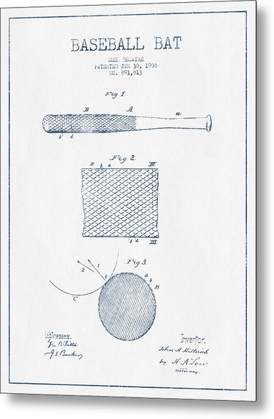 Baseball Bat Patent Drawing From 1904 - Blue Ink Metal Print