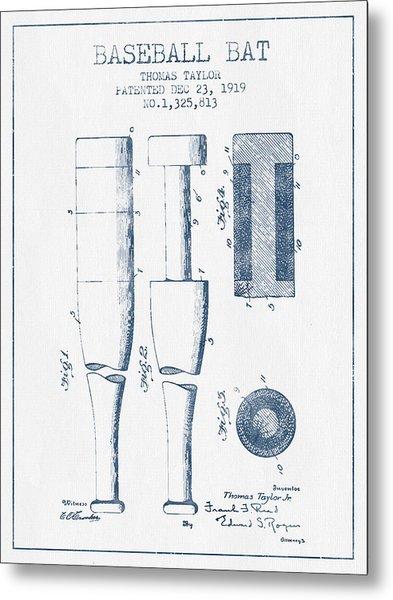Baseball Bat Patent From 1919 - Blue Ink Metal Print