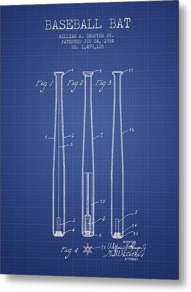 Baseball Bat Patent From 1924 - Blueprint Metal Print