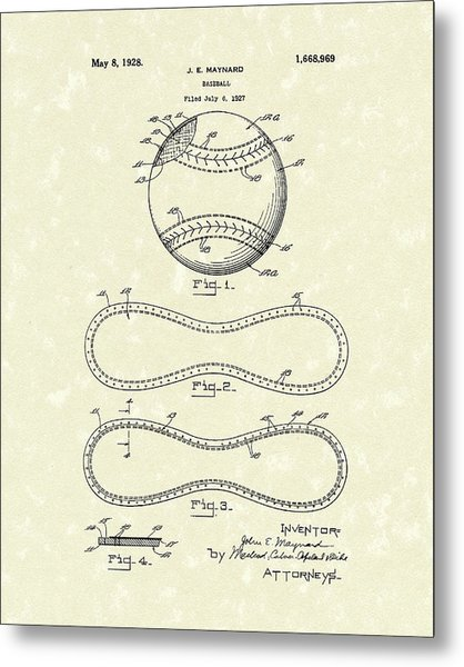 Metal Print featuring the drawing Baseball By Maynard 1928 Patent Art by Prior Art Design