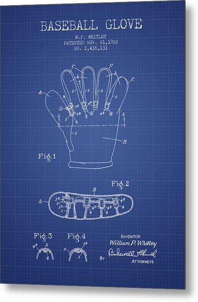 Baseball Glove Patent From 1922 - Blueprint Metal Print