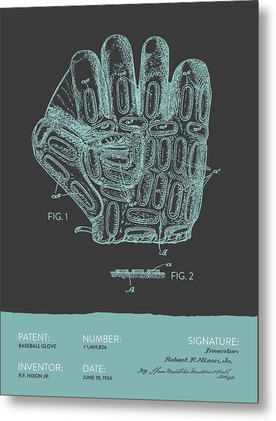 Baseball Glove Patent From 1924 - Gray Blue Metal Print