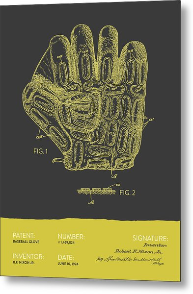 Baseball Glove Patent From 1924 - Gray Yellow Metal Print