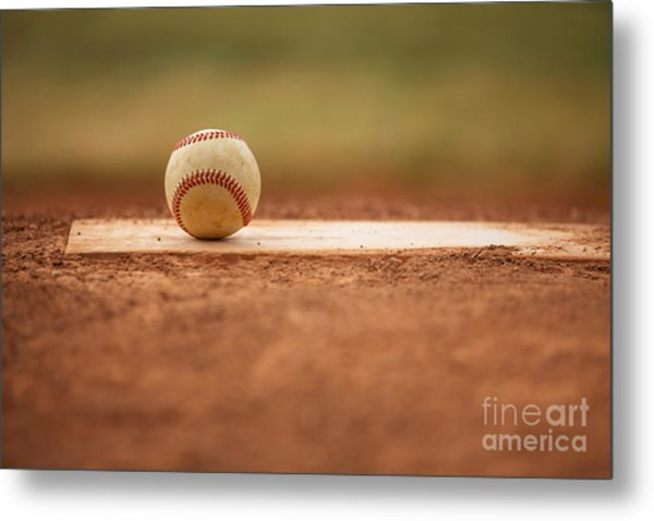 Baseball On The Pitchers Mound Metal Print