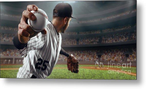 Baseball Player Throws The Ball On Metal Print by Alex Kravtsov