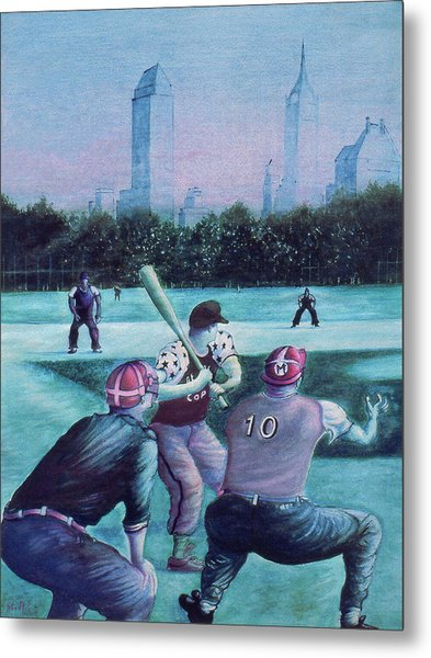 New York Central Park Baseball - Watercolor Art Metal Print