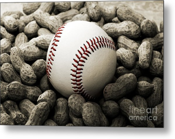 Baseball Season Edgy Bw 2 Metal Print