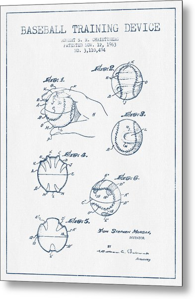 Baseball Training Device Patent Drawing From 1963 - Blue Ink Metal Print