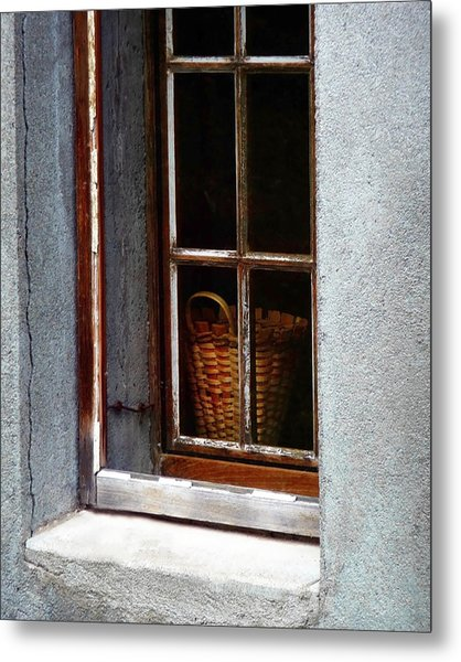 Basket In Window Metal Print