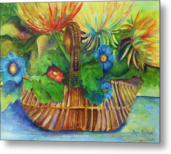 Flowers In My Basket Metal Print
