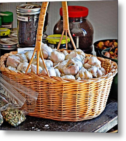 Basket Of Garlic Metal Print