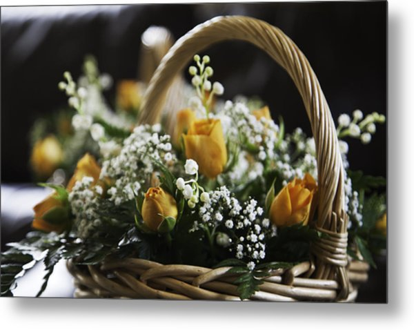 Basket Of Roses Metal Print by Lesley Rigg