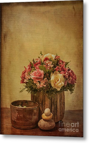 Basket Of Spring Roses Metal Print