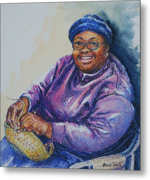 Basket Weaver In Blue Hat Metal Print