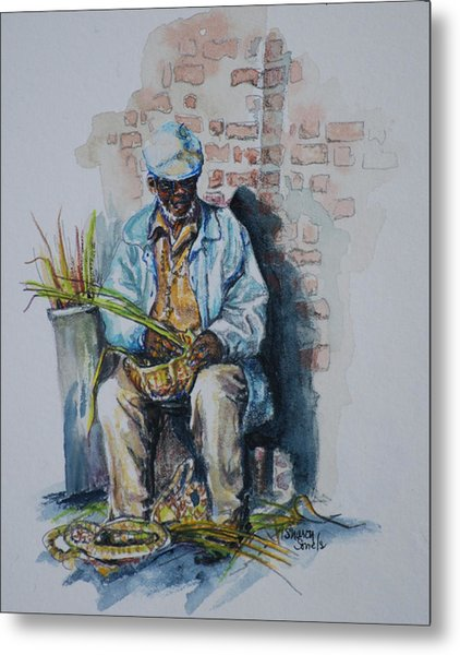 Basket Weaver Metal Print