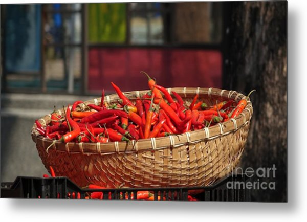Basket With Red Chili Peppers Metal Print