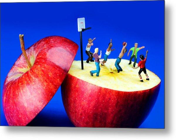 Basketball Games On The Apple Little People On Food Metal Print