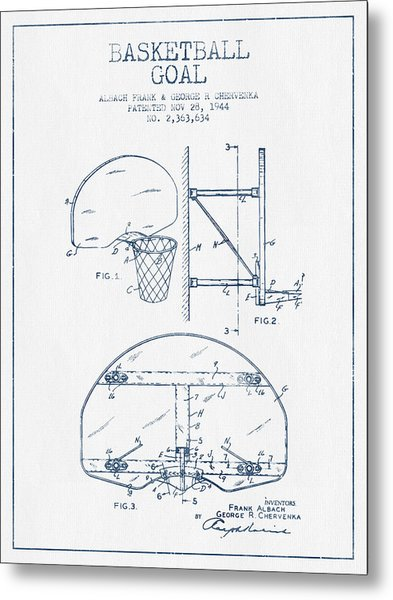 Basketball Goal Patent From 1944 - Blue Ink Metal Print