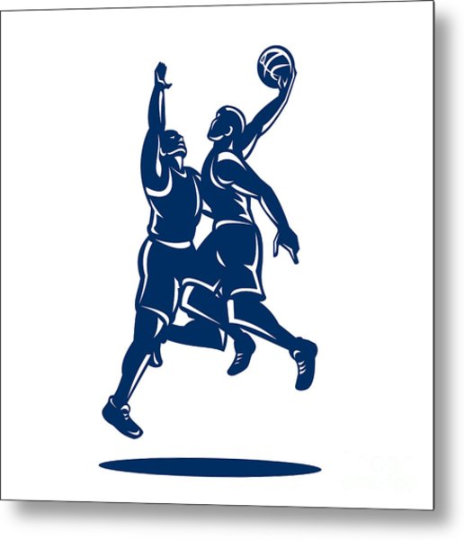 Basketball Player Dunk Block Retro Metal Print by Aloysius Patrimonio