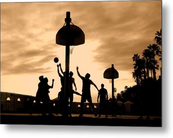 Basketball Players At Sunset Metal Print