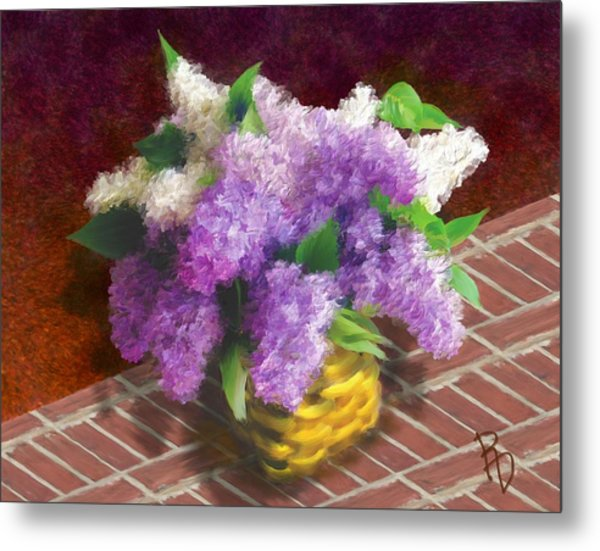 Basketful Of Lilacs Metal Print