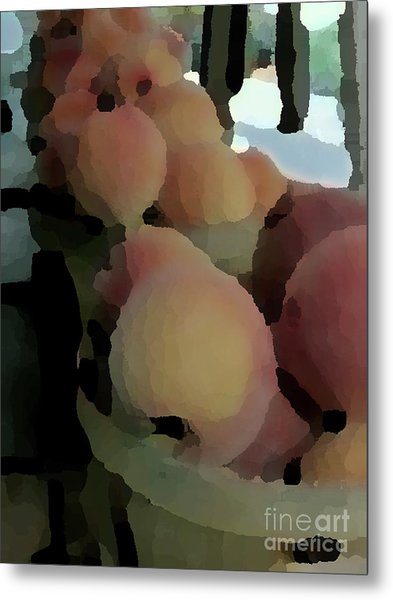 Baskets Of Peaches Metal Print