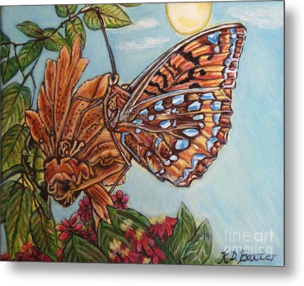 Basking In The Warmth Of The Sun In A Tropical Paradise Painting Metal Print