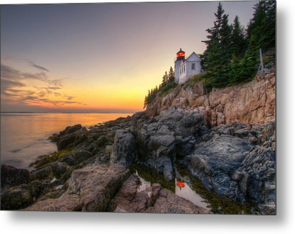 Bass Harbor Lighthouse Reflected In Tidal Pool Metal Print