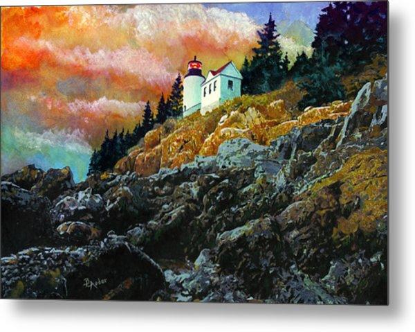 Bass Harbor Lighthouse Sunset Metal Print