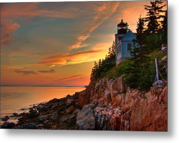 Bass Harbor Sunset Metal Print by Norm Hoekstra