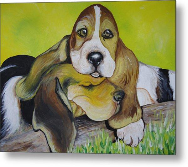 Bassett Hound Pups Metal Print