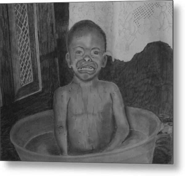 Bath-time Tears Metal Print