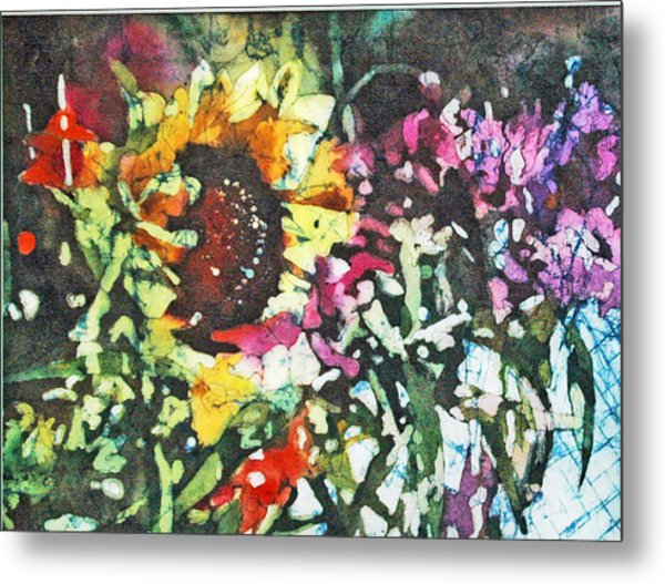 Batik Sunflower 1 Metal Print