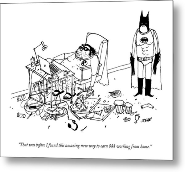 Batman Stands In The Filthy Room Of A Fat Metal Print