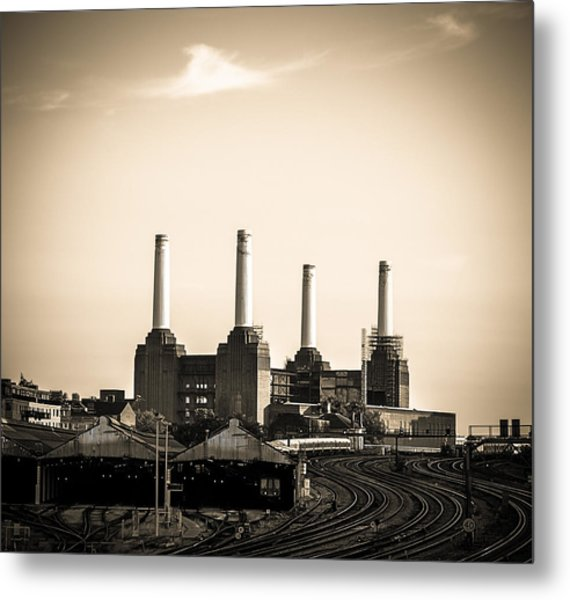 Battersea Power Station With Train Tracks Metal Print