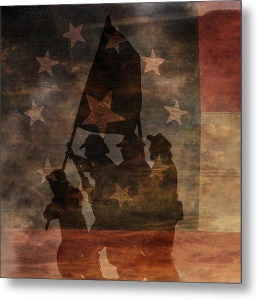Battle Flag Silhouette 1st Of Three Metal Print by Randy Steele