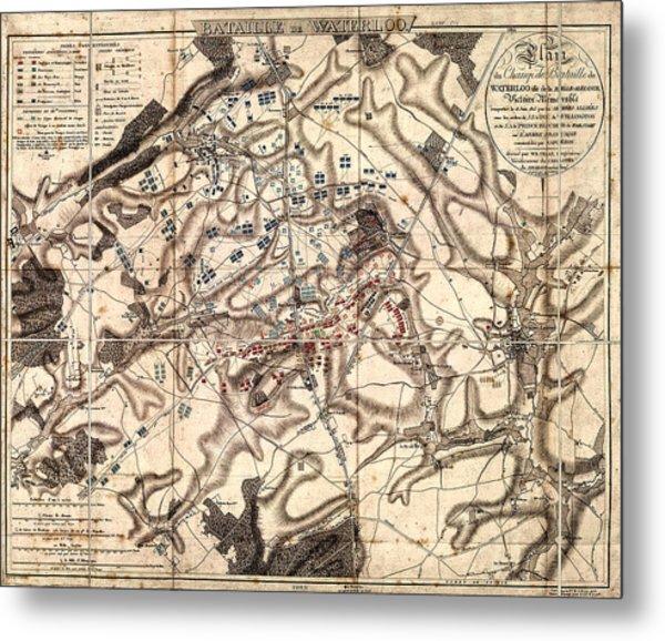 Battle Of Waterloo Old Map Metal Print