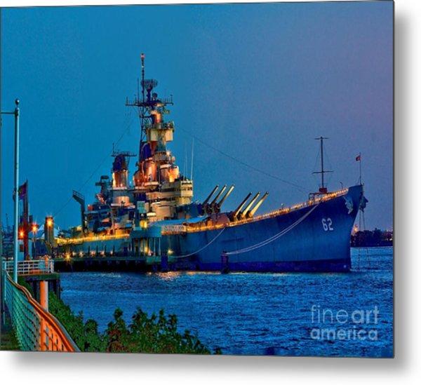 Battleship New Jersey At Night Metal Print