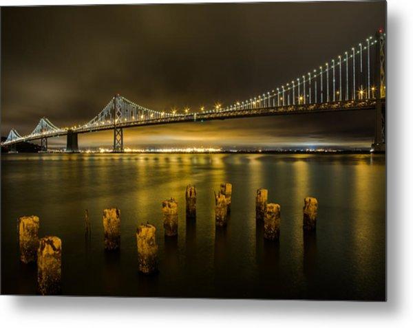 Bay Bridge And Clouds At Night Metal Print