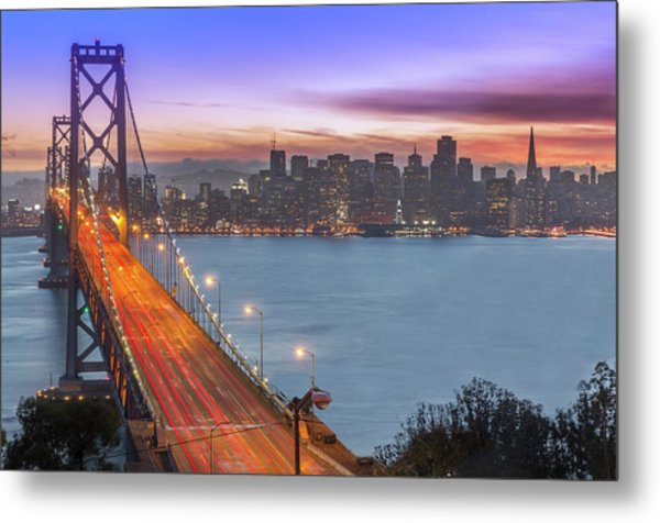 Bay Bridge And San Francisco Skyline At Metal Print by Spondylolithesis