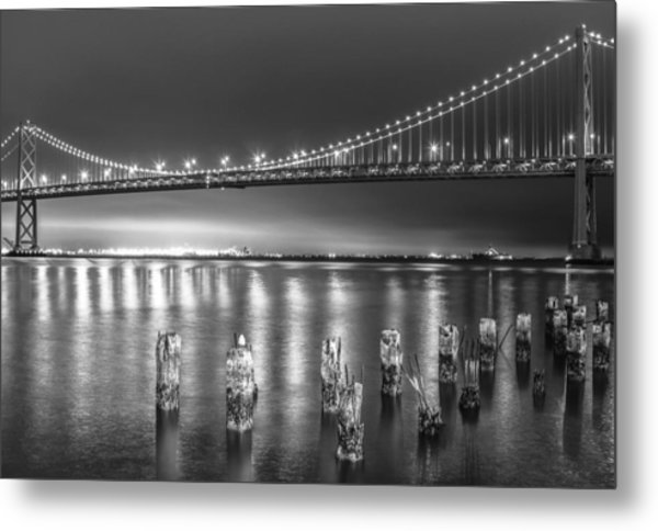 Bay Bridge Black And White Metal Print