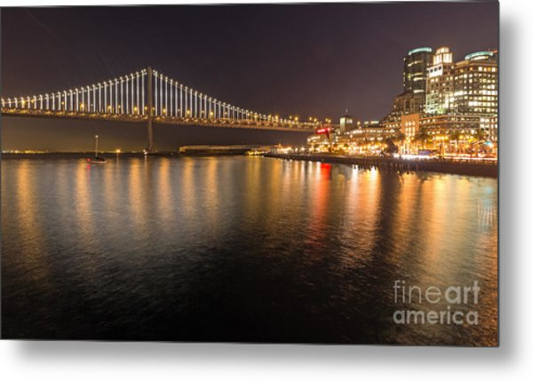 Metal Print featuring the photograph Bay Bridge Lights And City by Kate Brown