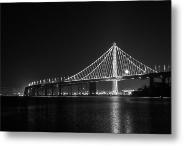 Bay Bridge Moon Metal Print