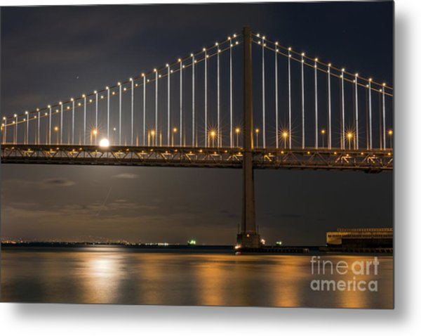 Bay Bridge Moon Rising Metal Print