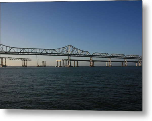 Metal Print featuring the photograph Bay Bridge Under Blue Skies by Cynthia Marcopulos