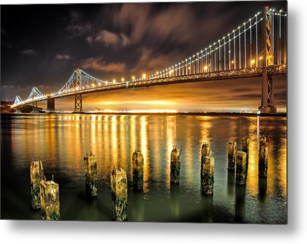 Bay Lights And Decaying Pylons Metal Print