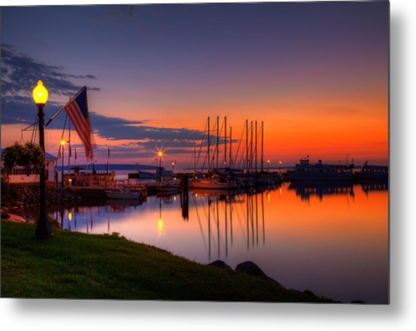 Bayfield Wisconsin Fire In The Sky Over The Harbor Metal Print