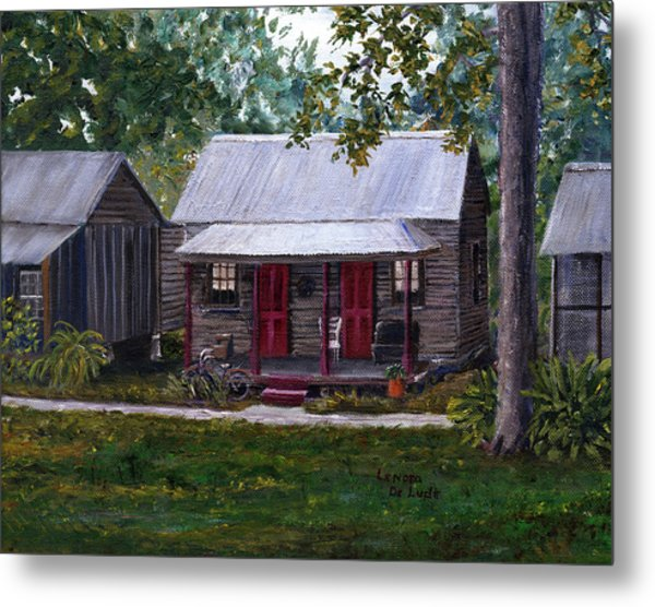 Bayou Cabins Art Breaux Bridge Louisiana Metal Print